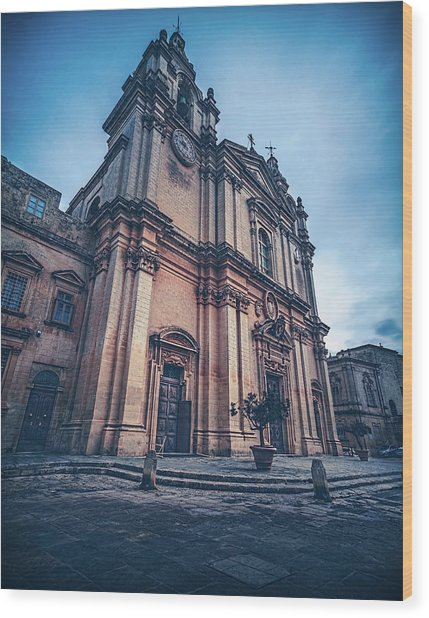 Cathedral Mdina Wood Print