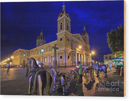 Cathedral Of Granada Shines Brightly Wood Print