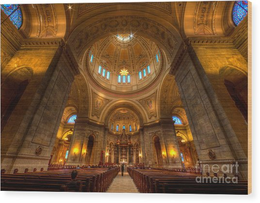 Cathedral Of St Paul Wide Interior St Paul Minnesota Wood Print
