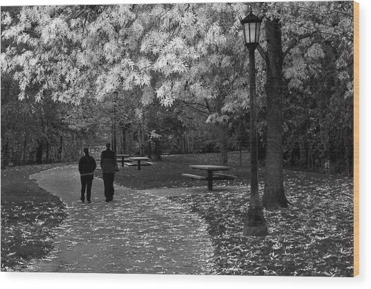 Cathedral Park In Fall Bw Wood Print