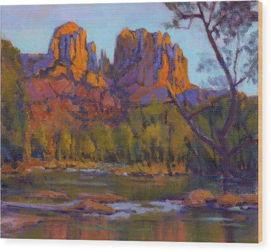 Wood Print featuring the painting Cathedral Rock 2 - Study by Konnie Kim