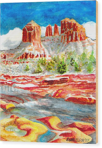 Cathedral Rock Crossing Wood Print