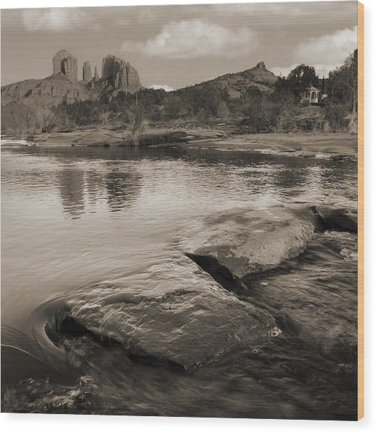Cathedral Rock Flow Wood Print by Bob Coates