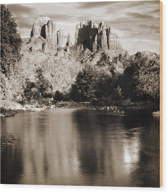 Cathedral Rock Reflection Wood Print by Bob Coates