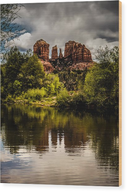 Cathedral Rock Reflections Wood Print