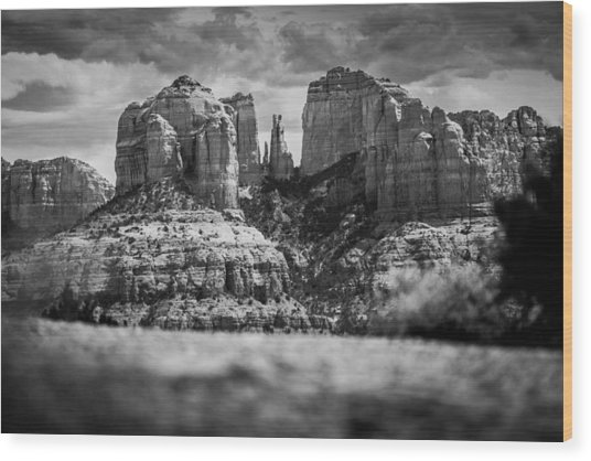 Cathedral Rock Wood Print by Robert Davis