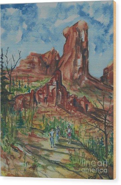 Hiking Cathedral Rock,  Sedona, Az. Wood Print