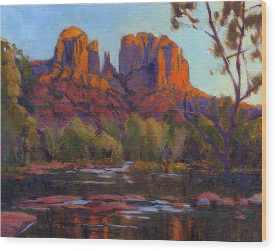 Wood Print featuring the painting Cathedral Rock by Konnie Kim