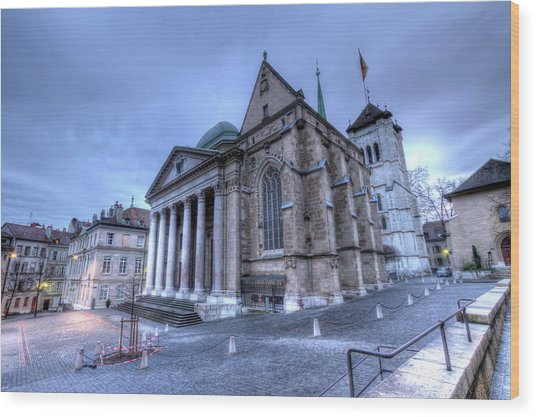 Cathedral Saint-pierre, Peter, In The Old City, Geneva, Switzerland, Hdr Wood Print