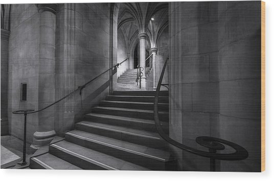 Cathedral Stairwell Wood Print by Michael Donahue