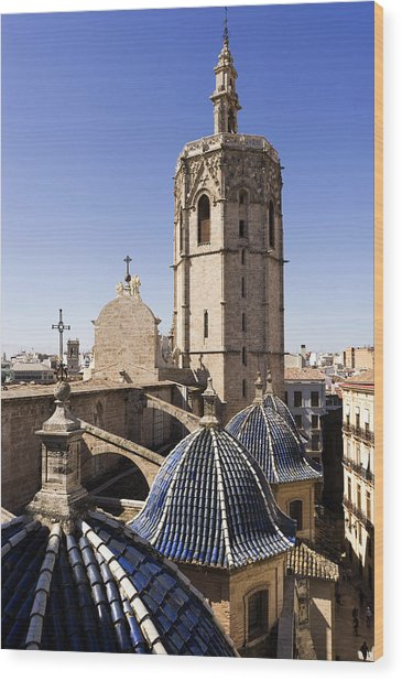 Cathedral Valencia Micalet Tower Wood Print