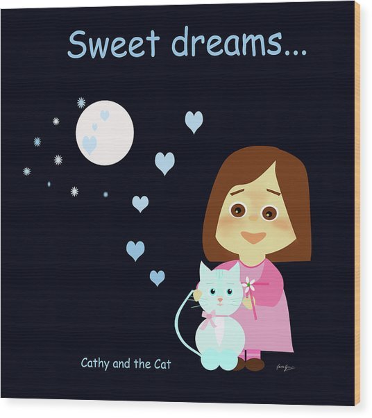 Cathy And The Cat Sweet Dreams Wood Print