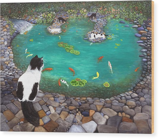 Cats And Koi Wood Print