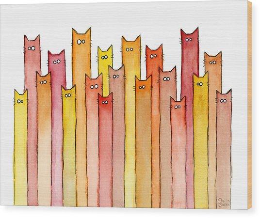 Cats Autumn Colors Wood Print
