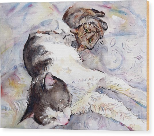 Cats In Watercolor Wood Print
