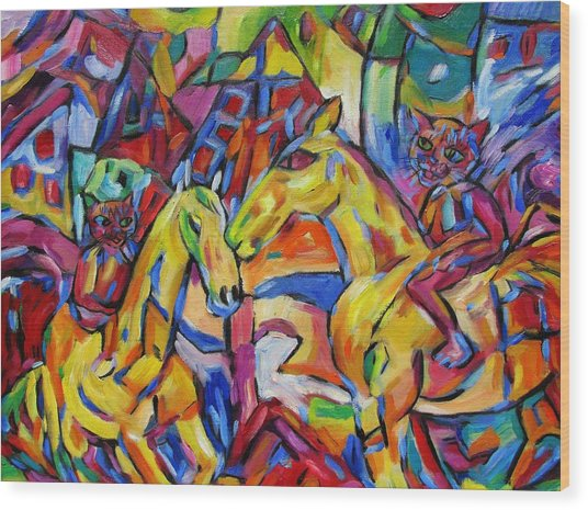 Cats On Horse Intensity Wood Print