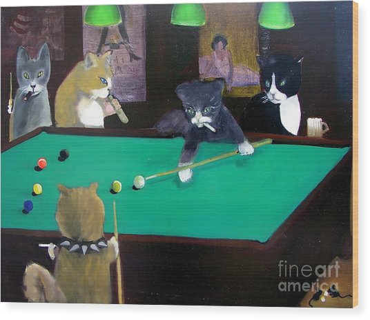 Cats Playing Pool Wood Print