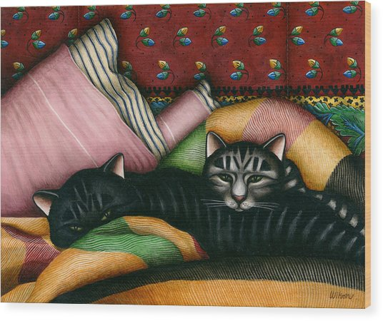 Cats With Pillow And Blanket Wood Print by Carol Wilson