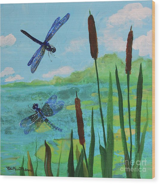 Cattails And Dragonflies Wood Print