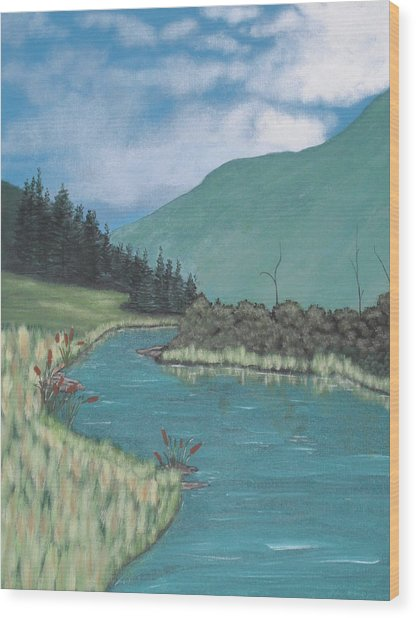 Cattails Wood Print by Candace Shockley