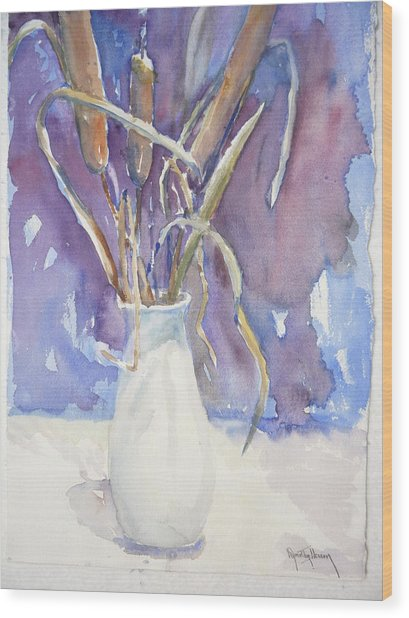Cattails On White Wood Print by Dorothy Herron