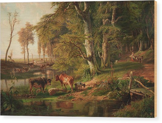 Cattle By A Wooded Stream, Oosterbeek Wood Print