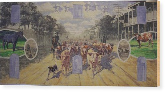 Cattle Drive Down Marion Avenue 1903 Sketch Wood Print by Michael Vires