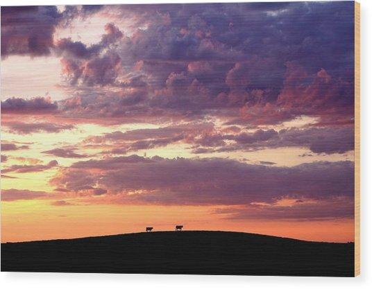 Cattle Ridge Sunset Wood Print