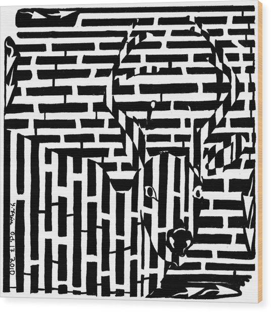 Caught In The Headlights Maze Wood Print by Yonatan Frimer Maze Artist