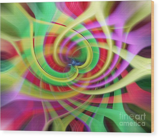 Caught Up In A Colorful Swirl Wood Print