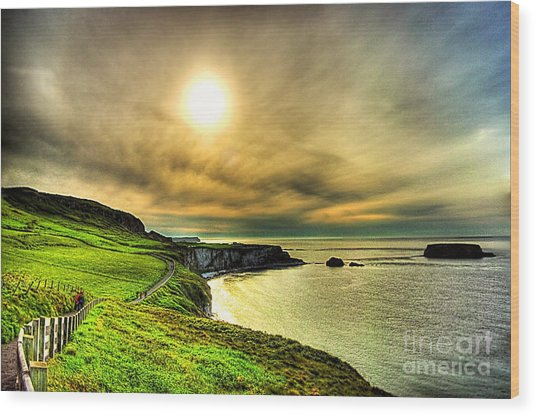 Causeway Sunset Walk Wood Print by Kim Shatwell-Irishphotographer