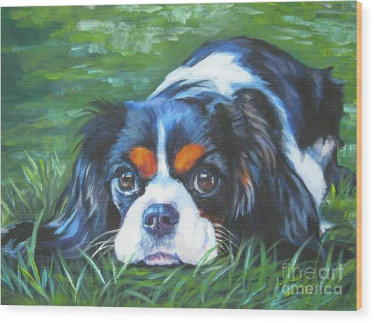 Cavalier King Charles Spaniel Tricolor Wood Print