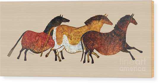 Cave Horses In Beige Wood Print