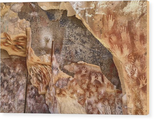 Cave Of The Hands Patagonia Argentina Wood Print