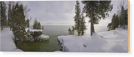 Cave Point Panorama Wood Print by Richard Steinberger