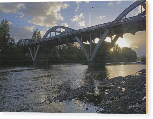 Caveman Bridge At Sunset Wood Print