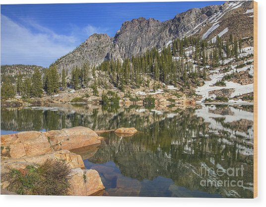 Cecret Lake And Devil's Castle Wood Print