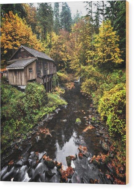 Cedar Creek Grist Mill Color Burst Wood Print