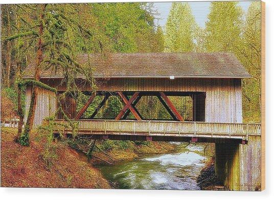 Cedar Creek Grist Mill Covered Bridge Wood Print