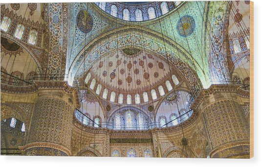 Ceiling Of Blue Mosque Wood Print