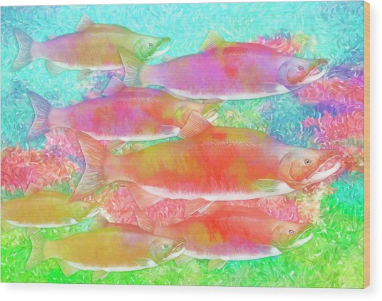 Celebrating Salmon Wood Print by Darryl Luscombe