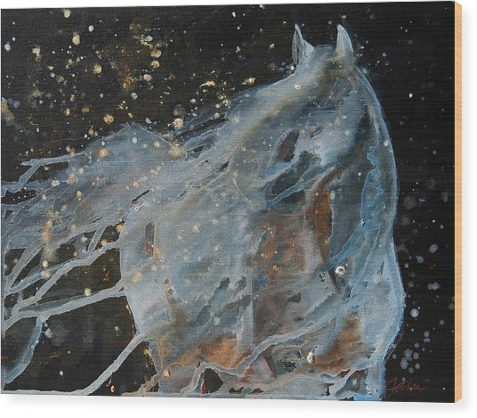 Wood Print featuring the painting Celestial Stallion  by Jani Freimann
