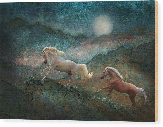 Celestial Stallions Wood Print