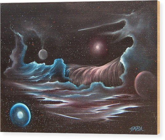 Celestial Wave Wood Print by David Gazda