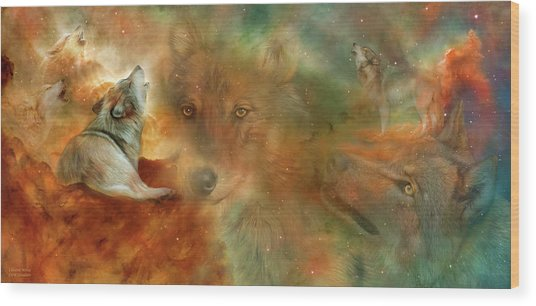 Wood Print featuring the mixed media Celestial Wolves by Carol Cavalaris