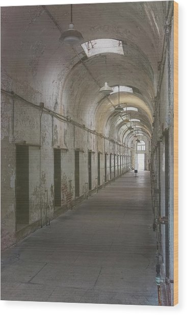Cellblock Hallway Wood Print