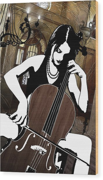Cellist Wood Print