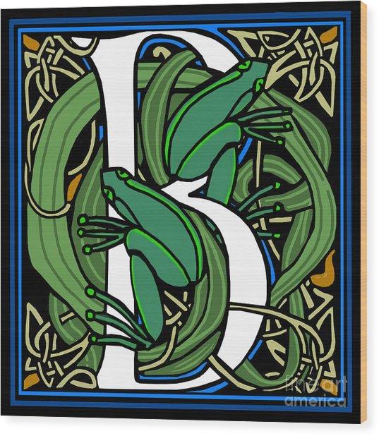 Celt Frogs Letter B Wood Print