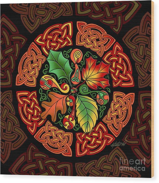 Celtic Autumn Leaves Wood Print