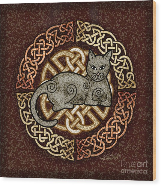 Celtic Cat Wood Print